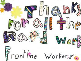 """The Art Gallery of Peterborough is sharing pictures of artwork created by local children on the theme of """"Our Heroes!"""", including this drawing by seven-year-old Grace thanking frontline workers for all their hard work. (Photo via Art Gallery of Peterborough)"""