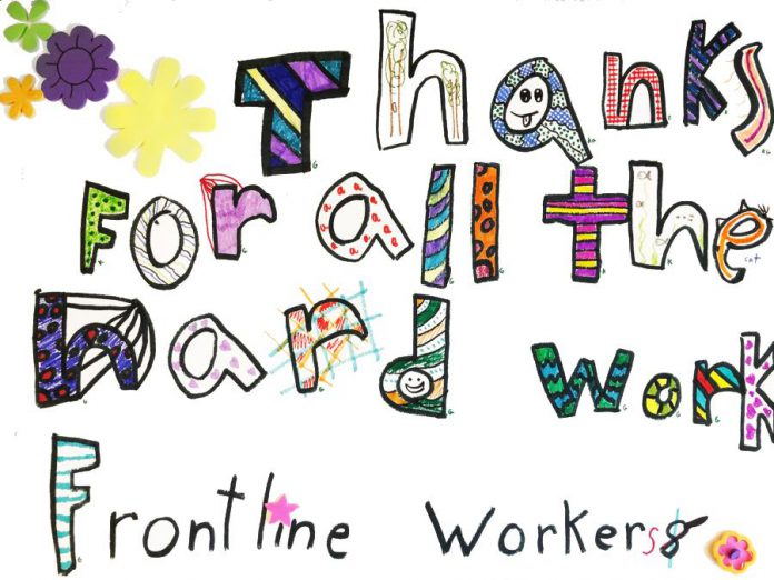 "The Art Gallery of Peterborough is sharing pictures of artwork created by local children on the theme of ""Our Heroes!"", including this drawing by seven-year-old Grace thanking frontline workers for all their hard work. (Photo via Art Gallery of Peterborough)"
