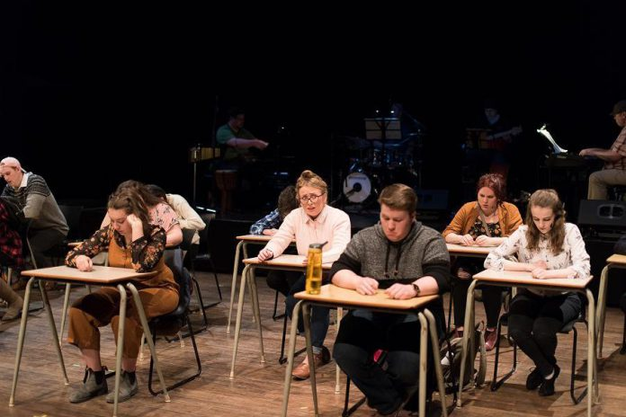 "In ""The Theory of Relativity"", 15 college students are writing a physics exam when a question launches them into each performing a vignette about  a person or an event that has made an impact in their life. The musical song cycle runs for six performances from March 13 to March 26, 2020 at Market Hall Performing Arts Centre in downtown Peterborough. (Photo: Alyssa Cymbalista)"