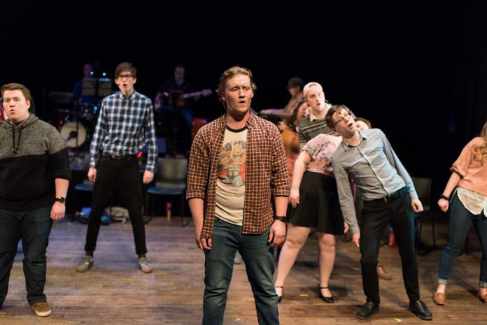 "The cast of ""The Theory of Relativity"", including Edward Sweeney (foreground), during a dress rehearsal of the musical song cycle ""The Theory of Relativity"", which runs for six performances from March 13 to March 26, 2020 at Market Hall Performing Arts Centre in downtown Peterborough. (Photo: Alyssa Cymbalista)"