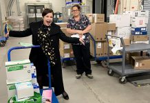 Kyla Gutsche (left), owner and operator of Cosmetic Transformations in Peterborough, with some of the medical supplies her company has donated for front-line health care workers at Peterborough Regional Health Centre. A renowned cosmetic and medical micropigmentation company that can enhance or restore features people have lost due to illness, trauma, surgery or the aging process, Cosmetic Transformation uses these supplies while delivering its services but the company has been forced to shut down due to the COVID-19 pandemic. (Photo courtesy of Kyla Gutsche)