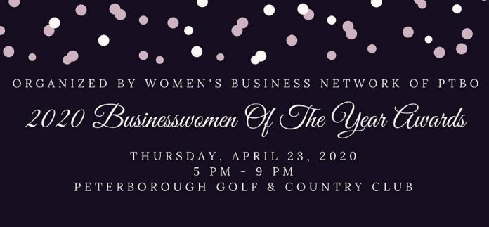 The 2020  Businesswomen of the Year Awards and the Judy Heffernan Award will be presented during a dinner and presentation ceremony on April 23, 2020 at the Peterborough Golf & Country Club. (Graphic: Women's Business Network of Peterborough)