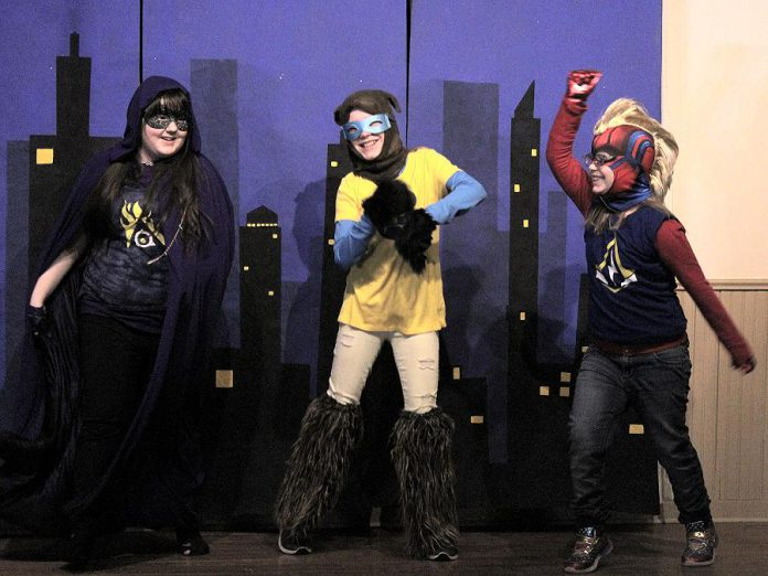 "Three of the 24 young performers during a dress rehearsal of Funfolk Theatricals' production of ""Calling All Sidekicks!"", written and directed by Cavan children's author Shan McFadden. The fun and affordable family play runs for four performances from March 15 to 17, 2020 at the Millbrook Legion. (Photo: Siobhan MacQuarrie)"