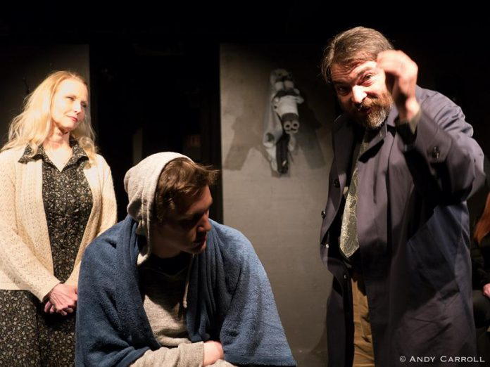Heather Knetchel and Matt Gilbert as Dora and Martin Strang, the parents of psychiatric patient Alan (Conner Clarkin, centre), who have opposing philosophies and thoughts on parenting.  (Photo: Andy Carroll)