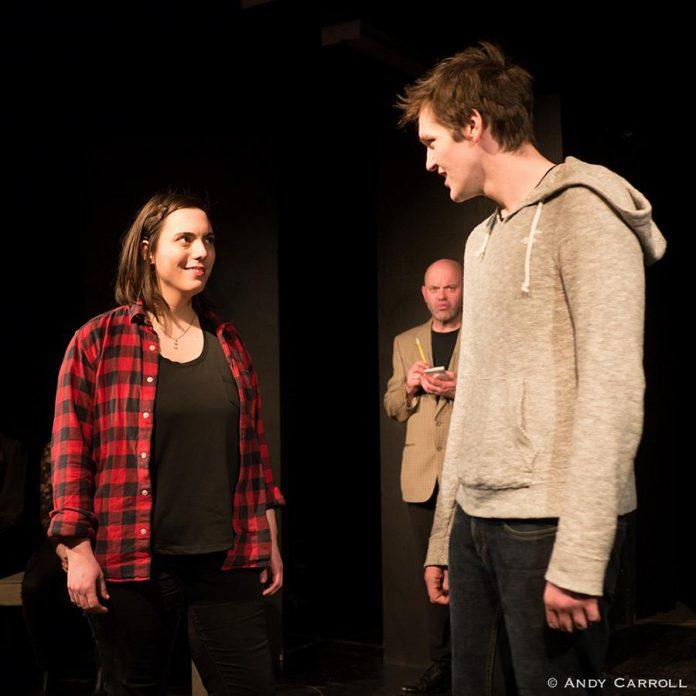 Sophie Kourtsidis as free-spirited stable girl Jill Mason, with Dan Smith as Dr. Martin Dysart and Conner Clarkin as Alan Strang.  (Photo: Andy Carroll)