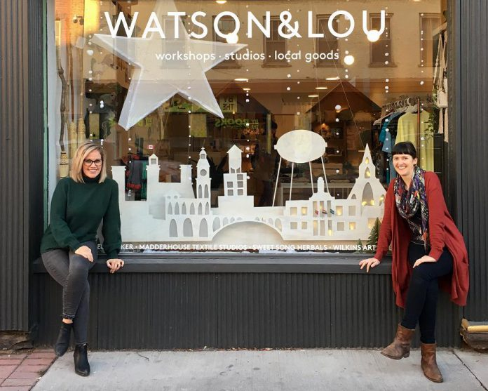 Watson & Lou owners Erin Watson and Anna Eidt in front of their shop at 383 Water Street in downtown Peterborough. In response to the COVID-19 pandemic, they have decided to temporarily close their bricks-and-mortar shop and are donting five per cent of online sales this week to independent arts organization The Theatre on King. (Photo: Watson & Lou)
