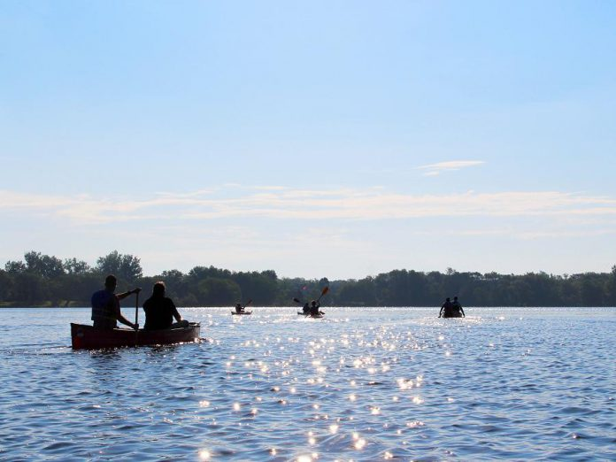 "Paddlers enjoy Little Lake in Peterborough on National Canoe Day on June 26, 2019. The Otonabee River, which flows in and out of Little Lake, is the source of all municipal drinking water in the City of Peterborough. ""Otonabee"" in Anishnaabemowin means ""the river that beats like a drum."" All of the water that falls in the City of Peterborough eventually flows into the Otonabee River. Among other things, GreenUP's new portable H2O To Go kits will teach children the importance of protecting and conserving water. (Photo: GreenUP)"