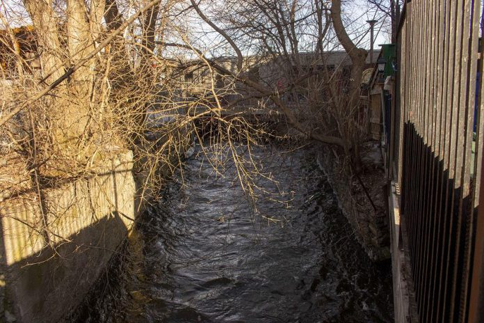As Jackson Creek enters downtown Peterborough, the concrete tunnels and asphalt roads that frame the creek in downtown Peterborough do not provide the filtering benefits gained from natural shorelines and rain gardens.  (Photo: GreenUP)