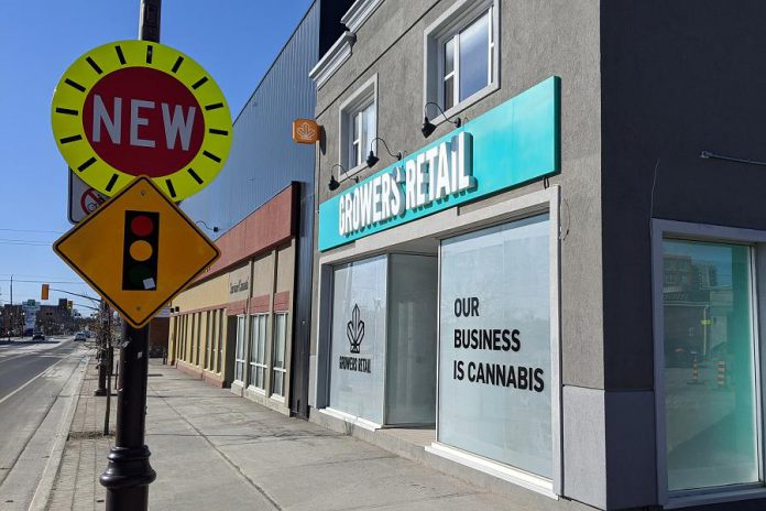 Growers Retail, Peterborough's first legal cannabis retailer located at 225 George Street North in downtown Peterborough, is set to open on April 1, 2020. (Photo: Bruce Head / kawarthaNOW)