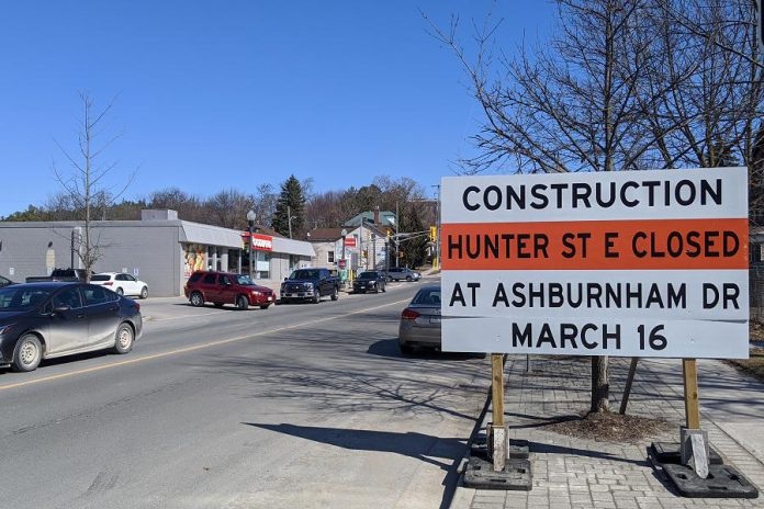 A construction notice on Hunter Street East looking east to Rogers Street in Peterborough's East City. Hunter Street East will be temporarily closed between Ashburnham Drive and Museum Drive on March 16, 2020, so there will be no access to Ashburnham Drive or Hunter Street East from the Peterborough Lift Lock tunnel. (Photo: Bruce Head / kawarthaNOW)