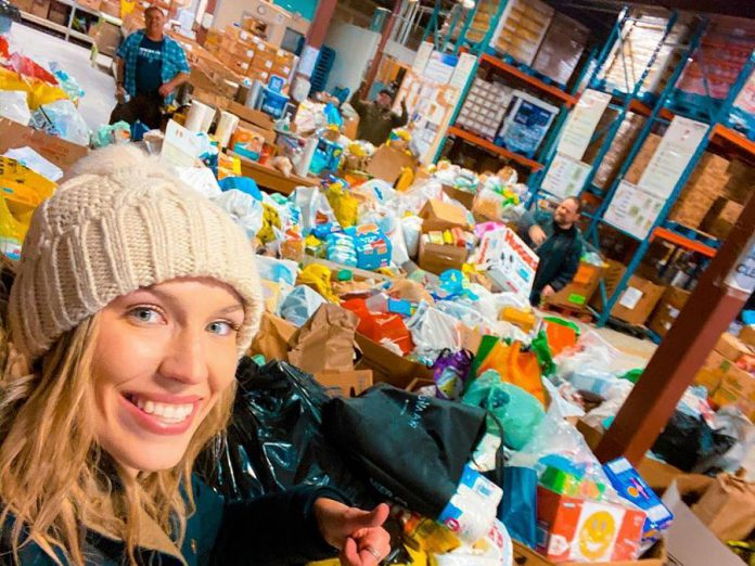 """Some of the 22,707 pounds of food and toilet paper donated to Kawartha Food Drive on March 23, 2020 as a result of the """"Spare A Square"""" porch food drive in Peterborough. (Photo: Kawartha Food Share)"""