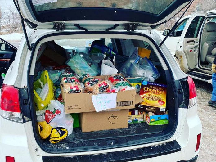 Beginning at 9 a.m. on March 23, 2020, volunteers drove around Peterborough to collect donated food items and deliver them to Kawartha Food Share's warehouse. (Photo: Kawartha Food Share)