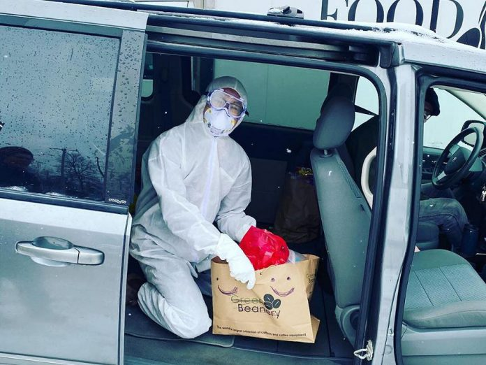 In accordance with social distancing directives, the volunteers were in their own vehicles and had no face-to-face contact with people who leave bags on their front porch. (Photo: Kawartha Food Share)