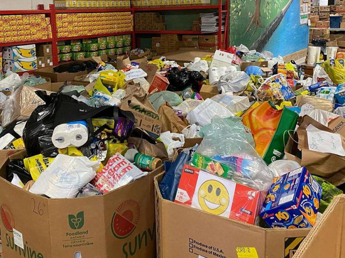 Donated items included toilet paper rolls and much-needed food items  canned tuna, pasta and pasta sauce, macaroni and cheese, peanut butter, and more. (Photo: Kawartha Food Share)