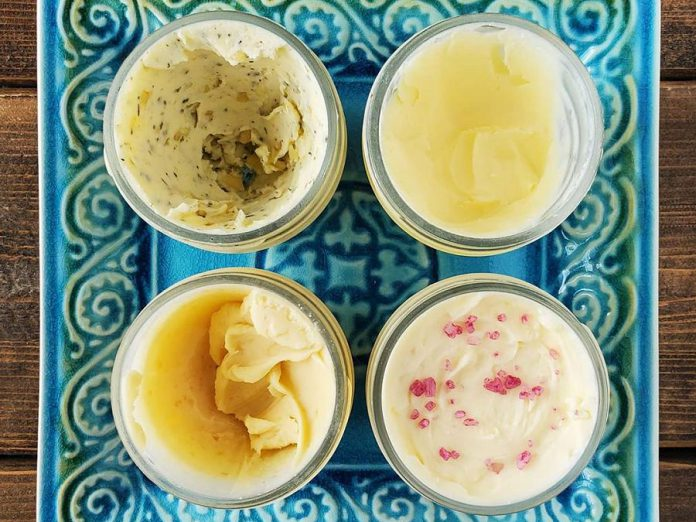 Lofty Butter Company will offer specialty flavours on rotation. Pictured here, clockwise from top left: garlic and herb, unsalted, red wine sea salt, and maple sugar. (Photo: Lofty Butter Company)
