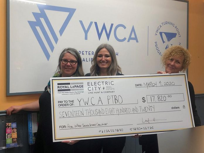 Peterborough realtor Linz Hunt met with representatives of YWCA Peterborough Haliburton on March 4, 2020 to present a cheque for $17,820 in support of YWCA Crossroads Shelter. The funds were raised as part of Royal LePage Shelter Foundation's 2019 Sahara Desert Challenge for Shelter. (Supplied photo)