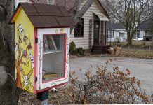 In 2015, the Rotary Club of Peterborough installed 25 little libraries in the Peterborough area, such as this one on Maria Street in Peterborough's East City. Now some little libraries are replacing books with free essential food and household care items. (Photo: Bruce Head / kawarthaNOW.com0