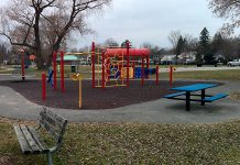 All playground equipment in municipal parks in the City of Peterborough and the City of Kawartha Lakes, such as this playground at Roger's Cove Park in Peterborough's East City, is closed effective March 27, 2020 because of the COVID-19 pandemic. (Photo: Bruce Head / kawarthaNOW.com)