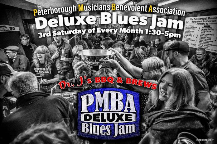 The key fundraiser for the Peterborough Musicians' Benevolent Association has been the monthly Deluxe Blues Jam, held monthly at Dr. J's BBQ & Brews in downtown Peterborough until bars were forced to close due to the COVID-19 pandemic.  The Deluxe Blues Jam will return when the crisis is over, but in the interim you can make a donation directly to the association by mail or (coming soon) by e-transfer. (Photo: Wayne Eardley)