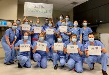 "Front-line healthcare workers in the intensive care unit (ICU) at Peterborough Regional Health Centre have a message for all of us: ""We're here for you. Please stay home for us."" (Photo courtesy of The ICU Team at PRHC)"
