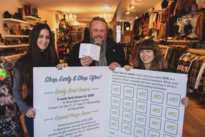 As executive director of the  Peterborough Downtown Business Improvement Area (DBIA), Terry Guiel is a champion of local independently owned businesses. Pictured here in late 2019 promoting the DBIA's Holiday Shopping Passport program, Guiel is one of five business leaders working together to help the local business community survive the fallout from COVID-19. (Photo: Peterborough DBIA)