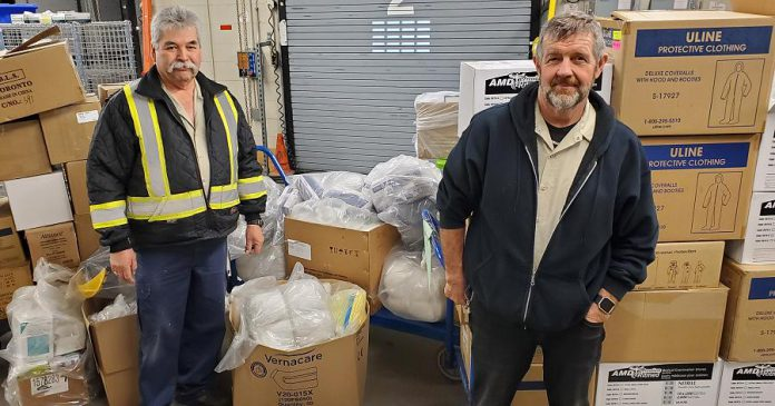 A large donation of personal protective equipment, clothing, sanitizer and soap, and disinfectant cleaners collected from multiple departments at Trent University was delivered to Peterborough Regional Health Centre on March 24, 2020. (Photo: Peterborough Regional Health Centre / Twitter)