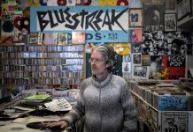 "Tim Haines is the owner of Bluestreak Records, one of 80 downtown Peterborough businesses from which you can buy gift certificates online at supportdowntownptbo.ca. The Peterborough Downtown Business Improvement Area (DBIA) is bringing back its popular ""spend $50 and get $25 in downtown money"", while quantities last, when you purchase gift certificates from the website. (Photo courtesy of DBIA)"