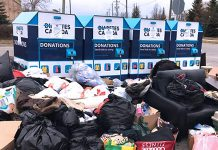 Some people are dumping clothing and other unwanted items Diabetes Canada donation bins during the COVID-19 pandemic, even though the charity has placed signs on the bins indicated the donations cannot be picked up and used right now. Some people are even dumping garbage and items unsuitable for donation at the bins, creating a serious health and safety issue. (Photo: Diabetes Canada)