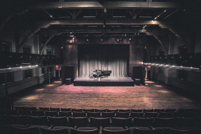 This empty theatre at Market Hall Performing Arts Centre in downtown Peterborough is only good for a photograph. With all upcoming performances cancelled or postponed until the fall, the non-profit organization has suffered a devastating loss of revenue to continue operations. (Photo: Bradley Boyle)