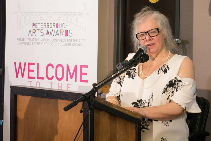 Su Ditta, executive director of Electric City Culture Council (EC3), at the 2019 Peterborough Arts Awards. She wants EC3 to be at the table with the City of Peterborough when emergency relief money comes from the province, so that the significant economic and social impact of the arts is considered when it comes time to distribute relief money.  (Photo: EC3)