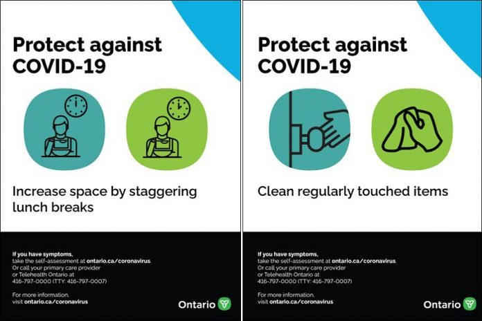 Ontario government safety posters for employers and employees in the restaurant and food services sector. (Graphics: Ontario government)