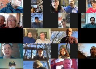 """Members of the Peterborough Singers perform a virtual arrangement of The Tragically Hip's """"Bobcaygeon"""" on April 5, 2020 in in solidarity with Pinecrest Nursing Home in Bobcaygeon, where 23 residents have died from COVID-19. (Screenshot)"""
