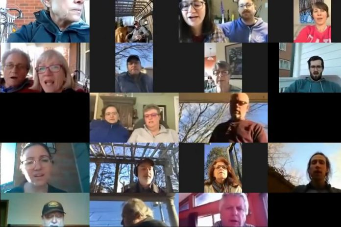 "Members of the Peterborough Singers perform a virtual arrangement of The Tragically Hip's ""Bobcaygeon"" on April 5, 2020 in in solidarity with Pinecrest Nursing Home in Bobcaygeon, where 23 residents have died from COVID-19. (Screenshot)"