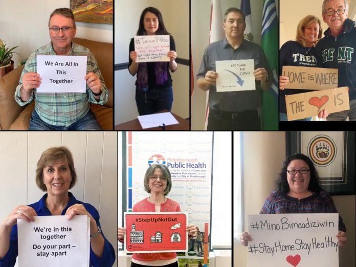 The #TogetherAtHome video also includes appearances by community leaders showing their support, including Fleming Board of Governors Chair Dan Marinigh, Peterborough-Kawartha MPP Dave Smith, Haliburton-Kawartha Lakes-Brock MPP Laurie Scott, Peterborough Mayor Diane Therrien, Dr. Leo Groarke and Glennice Burns from Trent University, Dr. Peter McLaughlin from Peterborough Regional Health Centre, Dr. Rosana Salvaterra from Peterborough Public Health, and Liz Stone and Naman Khandelwal from Fleming College.(Screenshots)