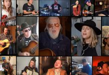 "Peterborough-area musicians performing Blue Rodeo's ""Lost Together"" in the #TogetherAtHome video include Greg Keelor, Melissa Payne, James McKenty, Greg Keelor, Jimmy Bowskill, Emily Burgess, Beau Dixon, Josh Fewings, Rick Fines, Rob Foreman, Matt Greco, Natalie Hughes, Dylan Ireland, Kellie McKenty, Shai Peer, Benj Rowland, Paper Shakers, Kate Suhr, Ryan Weber, Sam Weber, and Maureen Adamson. (Screenshot)"