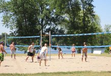 People enjoying volleyball at Beavermead Park in Peterborough's East City in 2015. Although the City of Peterborough is reopening municipal outdoor recreational facilities for limited casual use, all beaches, splsah bads, and wading pools remain closed, and the Ontario government's restriction of gatherings of more than five people remains in place. (Photo: City of Peterborough)