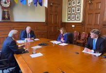 Ontario Premier Doug Ford on a teleconference with cottage country mayors on May 6, 2020. (Photo: Office of the Premier)