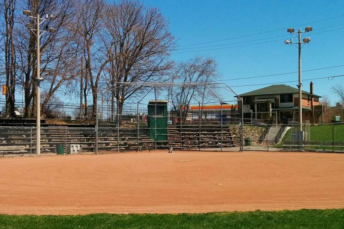 Outdoors sports fields like the baseball diamonds in Peterborough's East City are open, but for solitary use only. Due to the continuing Ontario government emergency order probibiting gatherings of people to no more than five, team play is not yet allowed. (Photo: Bruce Head / kawarthaNOW.com)