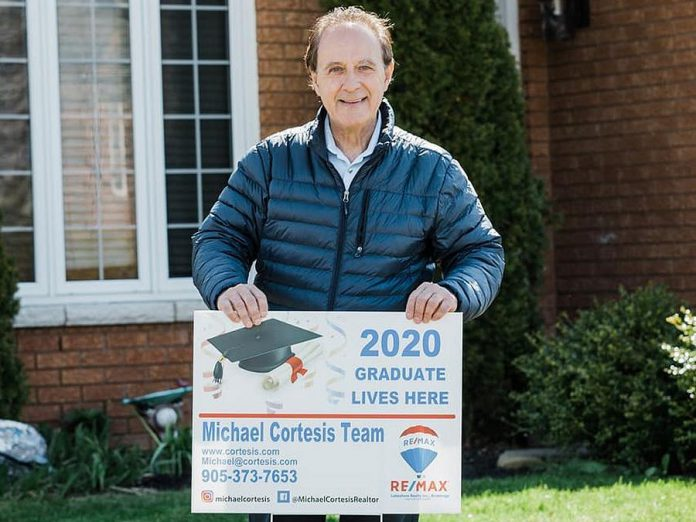 Since late April, Michael Cortesis of RE/MAX Lakeshore Realty Inc. Brokerage in Cobourg has been offering Northumberland County families these signs to recognize their graduating students during the COVID-19 pandemic. (Photo: Michael Cortesis / Facebook)