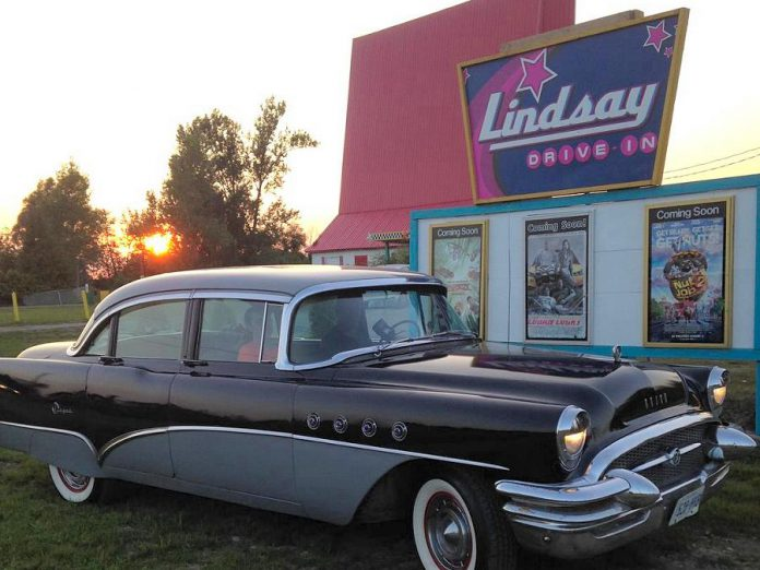 The Lindsay Drive-In is reopening for the 2020 season on May 31, 2020, with government-mandated restrictions in place due to the COVID-19 pandemic. Pictured is a 1955 Buick Super owned by David Vahey of Omemee at the Lindsay Drive-In in 2017. Drive-in theatres, which were at the height of their popularity in the late 1950s, have experienced a resurgence in popularity during the pandemic, as they provide a shared social experience that still allows people to maintain physical distancing. (Photo: Lindsay Drive-In / Facebook)