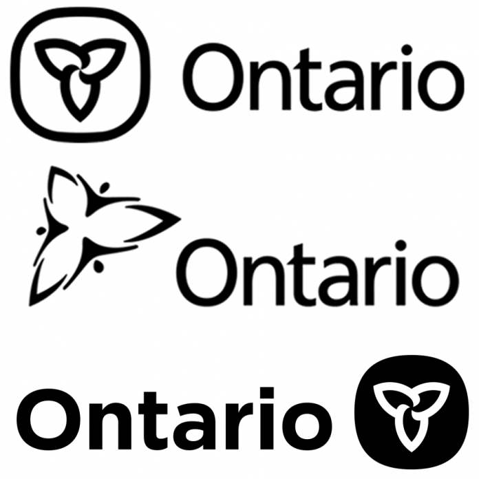 "The Ontario government's trillium logo when it was created in 1964, when it was changed to the much-maligned ""three men in a hot tub"" version in 2006, and as it appears today."