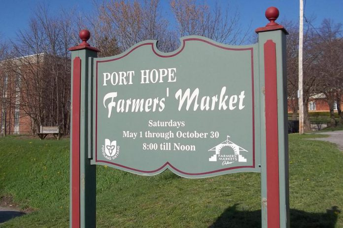 The Port Hope Farmers' Market takes place on Saturdays in the parking lot behind Town Hall at 56 Queen Street in downtown Port Hope. In 2020, the market opens on May 16, 2020 with food vendors only and will run from 9 a.m. to 1 p.m. (Photo: Port Hope Farmers' Market / Facebook)