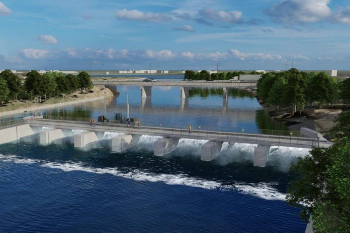 A rendition of the reconstructed Scotts Mills Dam at Lock 19 on the Trent-Severn Waterway in Peterborough. Construction resumes on the dam in May 2020 which, once completed, will include a pedestrian walkway. (Graphic: Parks Canada)