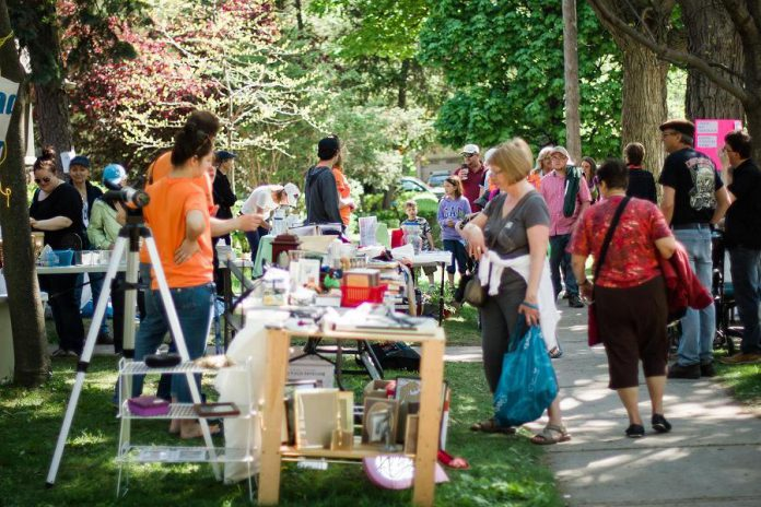 A local health unit is discouraging residents from hosting garage or yard sales during the COVID-19 pandemic. Pictured is the Great Gilmour Street Garage Sale that usually takes takes place in late May in Peterborough. (Photo: Linda McIlwain)