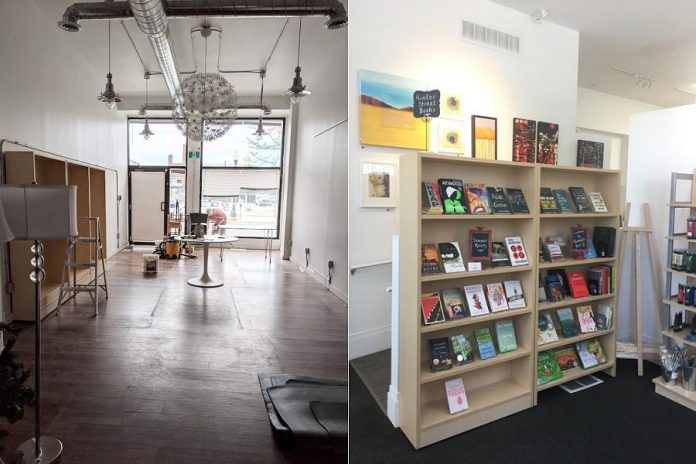 Although Michelle Berry has closed the physical location of Hunter Street Books in downtown Peterborough (left), she continues to operate her online store and has partnered with META4 Gallery (right) to offer personally curated shelves of books. (Photos: Michelle Berry and META4 Gallery)
