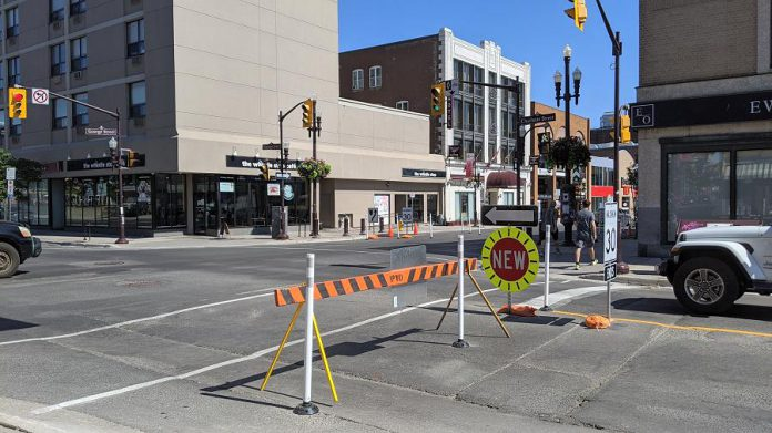 Charlotte Street is reduced to a single eastbound one-way lane, while Hunter Street will be reduced to a single one-way lane in the other direction, both between Aylmer Street and George Street. (Photo: Bruce Head / kawarthaNOW.com)