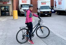 The COVID-19 pandemic may result in some permanent changes to how people use transportation, turning to bikes instead of cars. Eileen purchased a new bike when her car broke down this spring. Now that she has a sweet ride down the trail to her job at Brant Basics in downtown Peterborough, she's not planning on shifting back to driving. Along with a more healthy commute, she also doesn't have to spend money on gas or worry about parking anymore. (Photo: GreenUP)