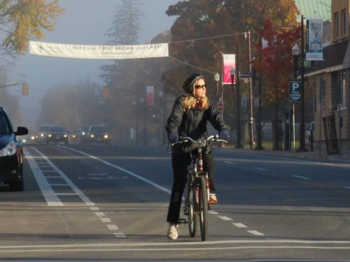 The City of Peterborough is seeking public input on its cycling master plan. Whether you're an veteran cyclist or a newbie, you can share your experiences to help build a more bike-friendly Peterborough, such as dedicated bike lanes. (Photo: City of Peterborough)