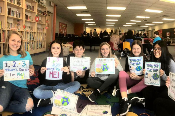 Before schools were closed due to the COVID-19 pandemic, the Monsignor O'Donaghue school communication focus group shared their hand-made water conservation posters. From left to right: Ella Doris, Erin Livings, John Velasquez, Mija Kavcic-Crowhurst, Sara McMahon, and Meline Dole. (Photo: GreenUP)