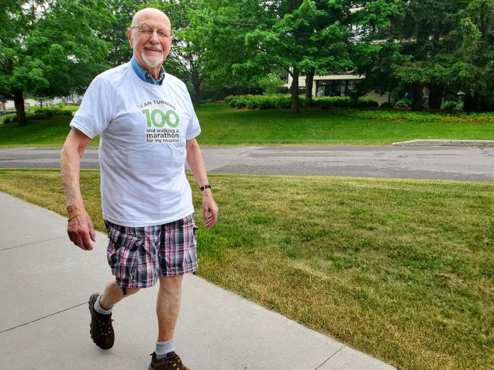 Guy Aiello, who is turning 100 this fall, has supported Peterborough Regional Health Centre (PRHC) for almost 30 years as a donor and a volunteer. He will be walking the equivalent of a marathon during July to raise funds for PRHC Foundation, to go towards the hospital's most critical priorities including technological advancements and essential medical equipment. (Photo courtesy of PRHC Foundation)